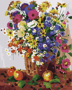 Adorable Floral Basket Paint by Numbers
