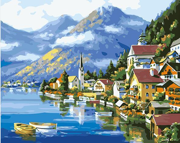 Alpine village Paint by Numbers
