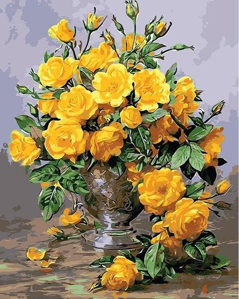 Amazing Yellow Roses Paint by Numbers