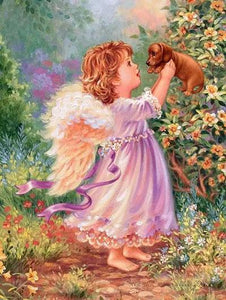 Angel Girl with Puppy Paint by Numbers