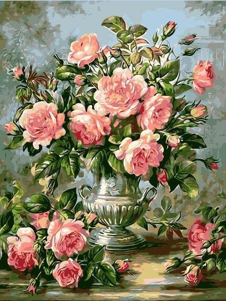 Appealing Pink Roses Paint by Numbers