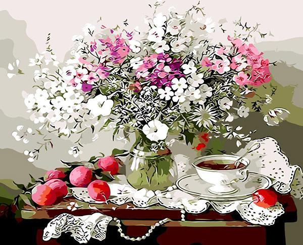Apples, Tea & Flowers Paint by Numbers