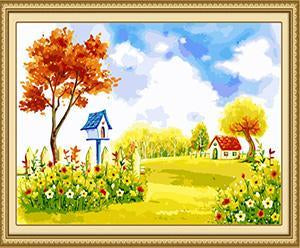 Autumn Farm Scene Paint by Numbers