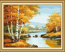 Load image into Gallery viewer, Autumn Trees & Lake Paint by Numbers