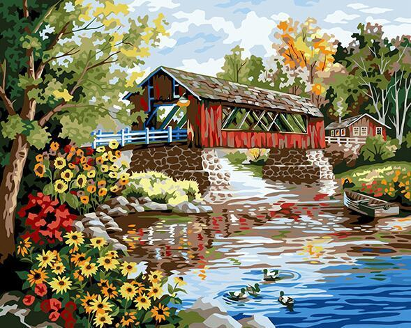 Beautiful Cottage & Flowers Paint by Numbers