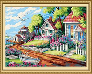 Beautiful Garden & Houses Paint by Numbers
