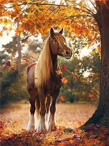 Beautiful Horse in Autumn Paint by Diamonds