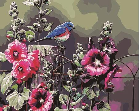 Bird on Floral Fence Paint by Numbers