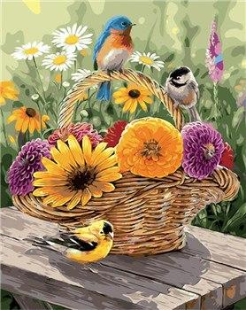Birds & Flowers Basket Paint by Numbers