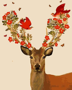 Birds & Flowers on Deer Antlers Paint by Numbers