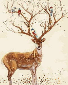 Birds on Deer Antlers Paint by Numbers