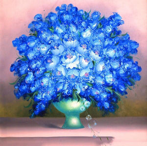 Blue Flowers Paint by Numbers