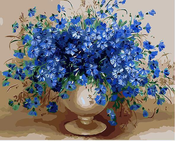 Blue Flowers in Copper Vase Paint by Numbers
