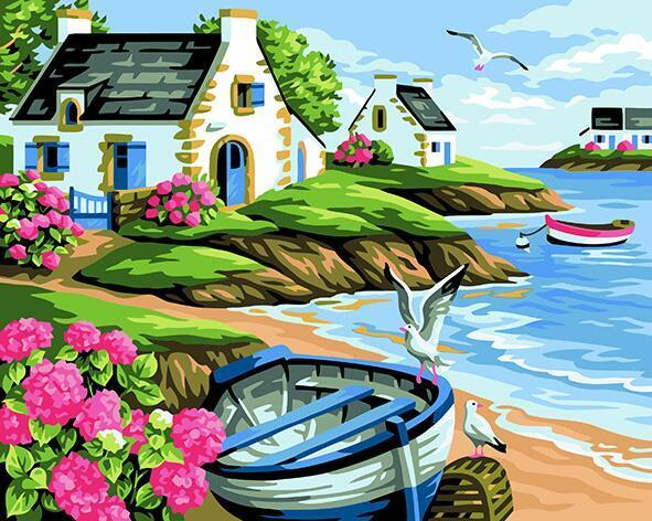 Boat on Sea Shore Paint by Numbers
