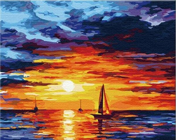 Boats & Sunset View Paint by Numbers