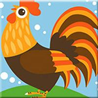 Cartoon Rooster Paint by Numbers