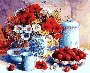 Cherries & Floral Vase Paint by Numbers