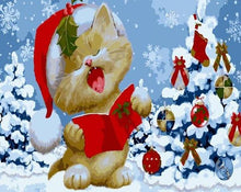Load image into Gallery viewer, Christmas Cat Paint by Numbers