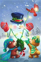 Load image into Gallery viewer, Christmas Lights & Snowman Paint by Diamonds
