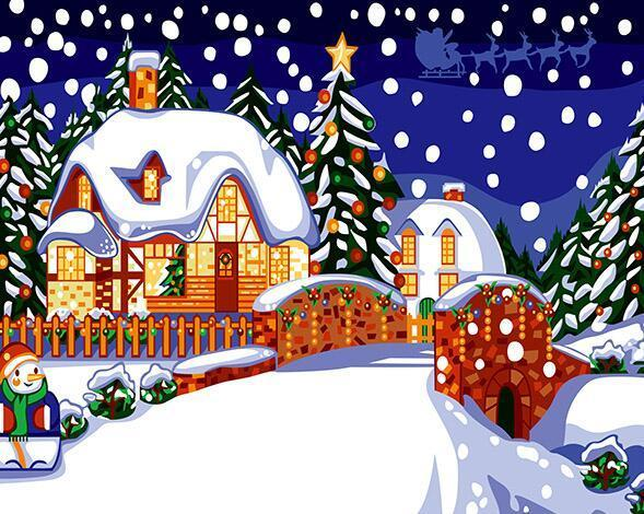 Christmas Snowfall Paint by Numbers