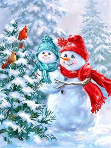 Christmas Tree & Snow Men Paint by Diamonds