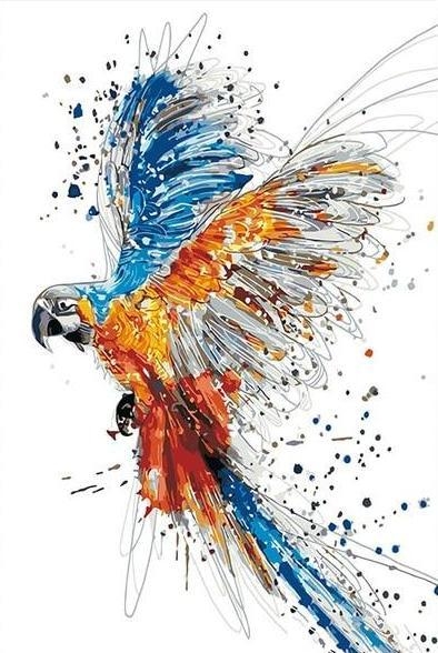 Color Splashing Parrot Paint by Numbers