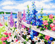 Load image into Gallery viewer, Colorful Floral Fence Paint by Numbers