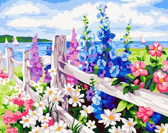 Colorful Floral Fence Paint by Numbers