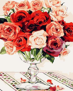 Colorful Roses & Glass Vase Paint by Numbers