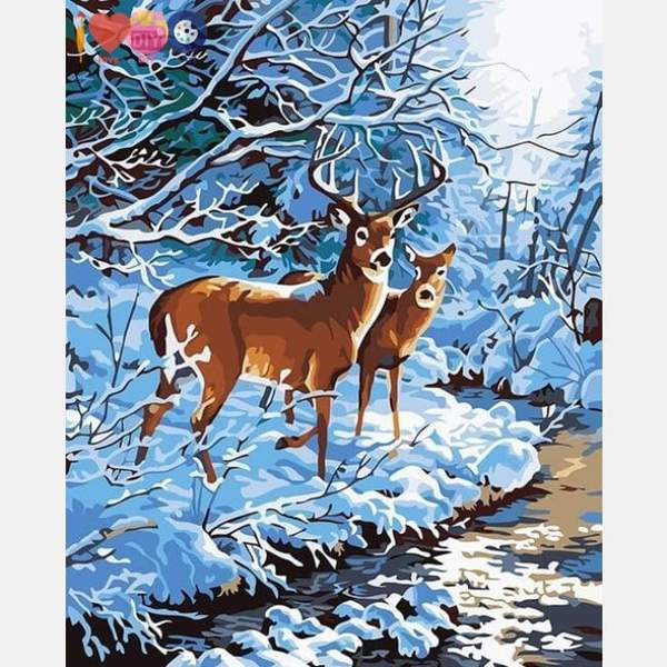Deer Pair Paint by Numbers