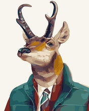 Load image into Gallery viewer, Deer in Suit Paint by Numbers