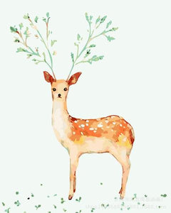 Deer with Leaves Antlers Paint by Numbers