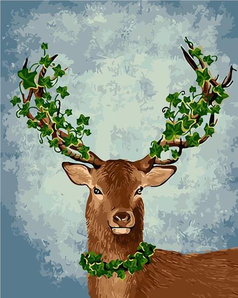 Deer with Leaves on Horns Paint by Numbers