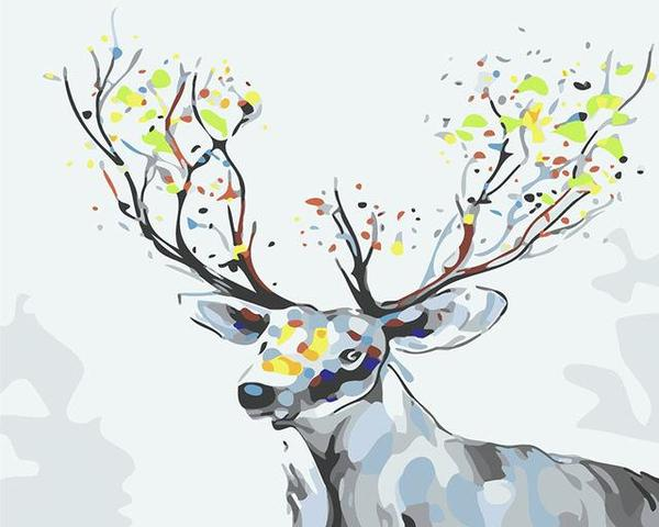 Deer with colorful Horns Paint by Numbers