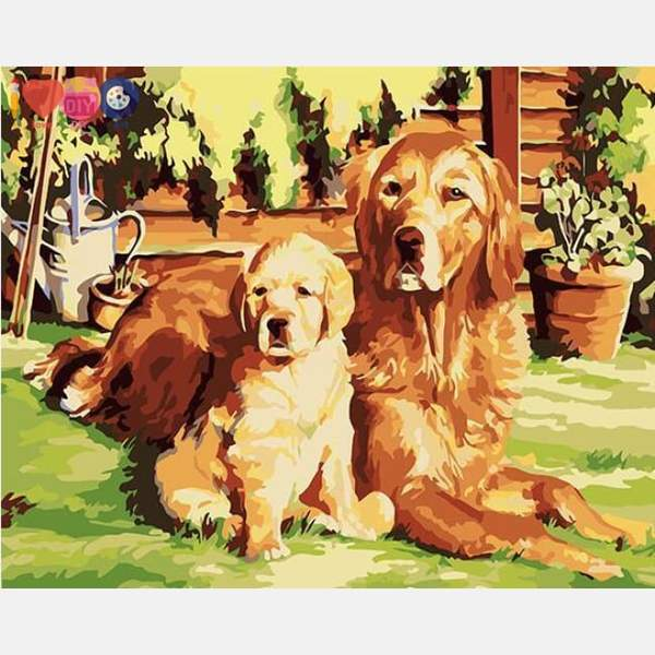 Dog & Puppy Paint by Numbers