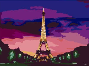 Eiffel Tower Night View Paint by Numbers