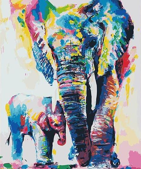 Elephant & Baby Paint by Numbers