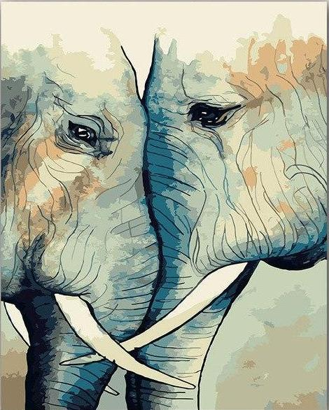 Elephant Pair Paint by Numbers