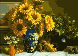 Fancy Sunflowers Vase Paint by Numbers