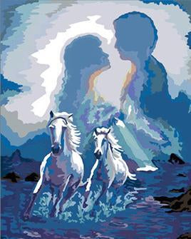 Fantasy Couple & Horses Paint by Numbers