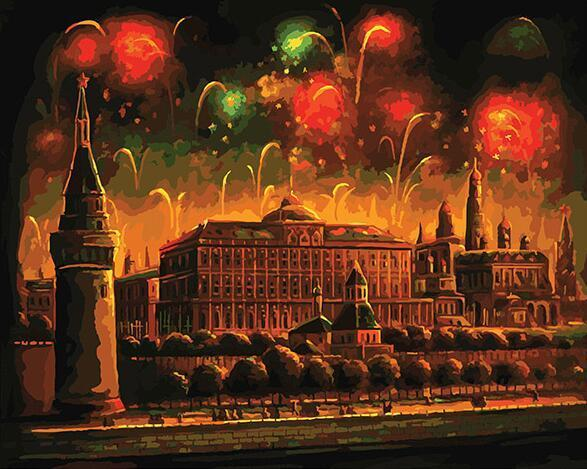 Fireworks on Castle Paint by Numbers
