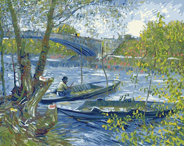 Fishing in Spring Paint by Numbers