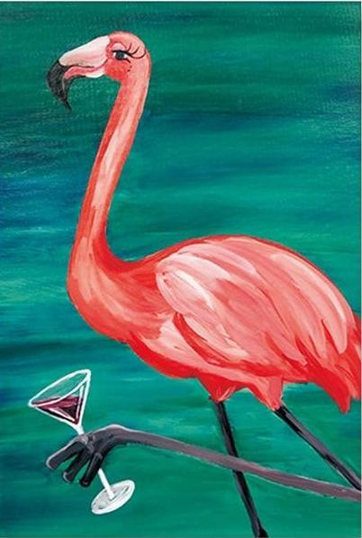 Flamingo & Wine Paint by Numbers