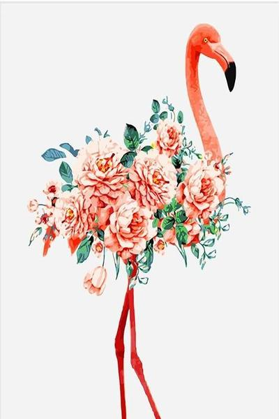 Floral Flamingo Paint by Numbers