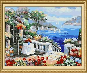 Floral Sea View Paint by Numbers