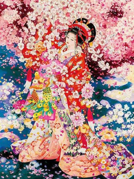 Flowers Rain on Japanese Girl Paint by Diamonds