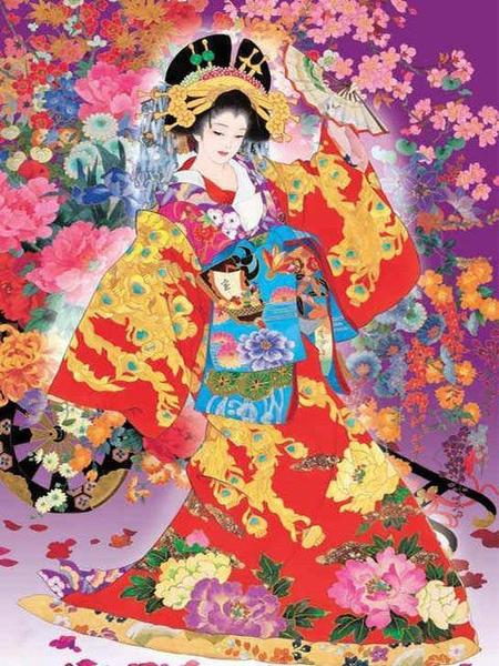 Geisha Art Paint by Diamonds