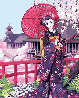 Geisha Japanese Anime Paint by Numbers