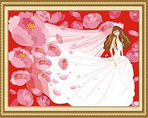 Girl in Wedding Gown Paint by Numbers