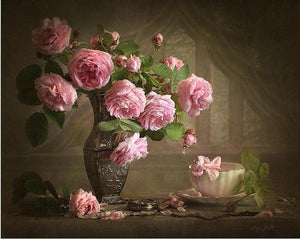 Gorgeous Pink Roses Paint by Numbers